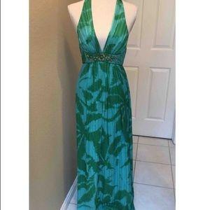 BCBGMaxAzria silk palm print maxi dress, size 10